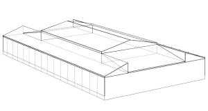 covered arena with sliding roof technical drawing